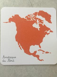 Carte continent Amérique du Nord Mon coffret Montessori des animaux édition Nathan