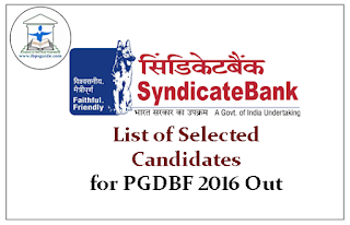 Syndicate Bank-List of Selected Candidates for PGDBF 2016 Out
