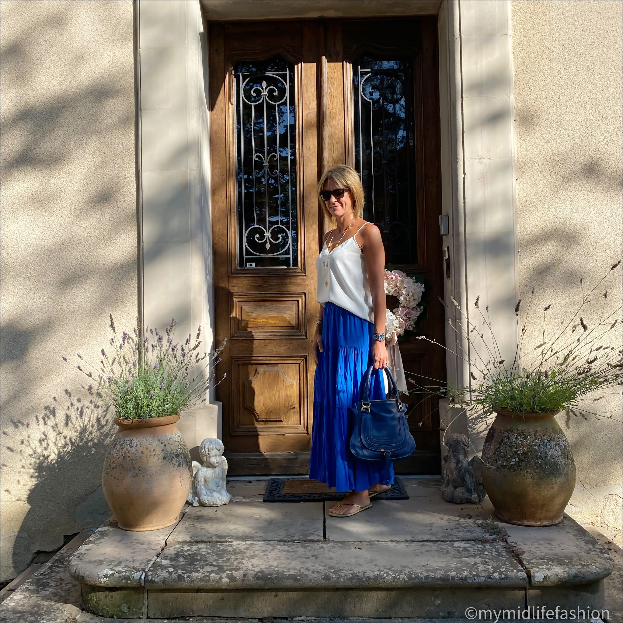 my midlife fashion, tom ford sunglasses, ashiana coin necklace, mango camisole top, h and m bright blue long skirt, Chloe marcie bag, Carvela leather thong sandals