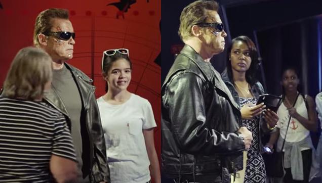 Arnold Schwarzenegger is pretending to be a wax statue