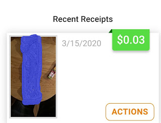 An Android screenshot showing an example of how much you can make per receipt from Coinout