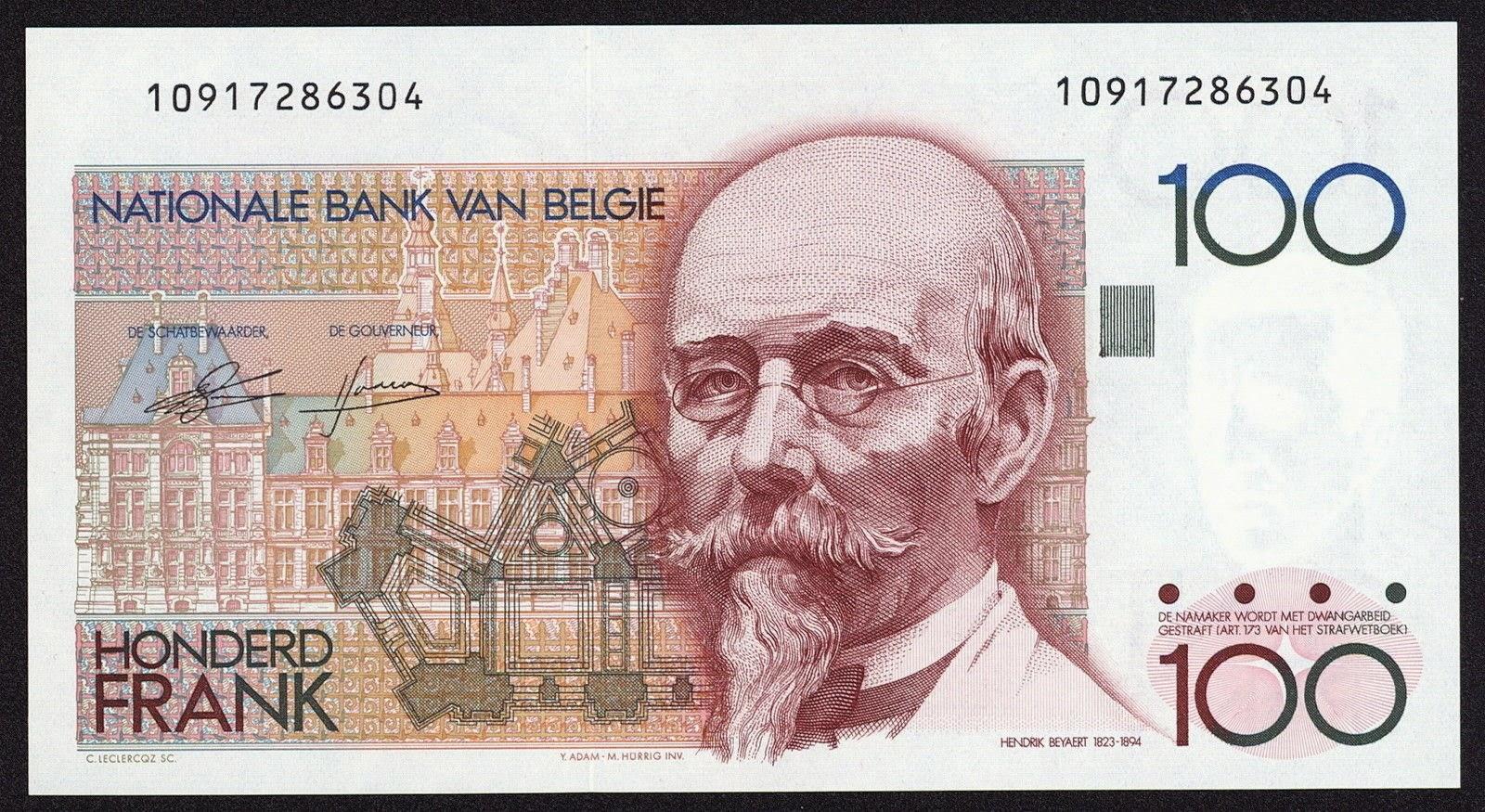 Belgium Banknotes 100 Francs banknote 1982 Hendrik Beyaert