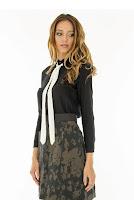 Camasa neagra din bumbac cu cravata alba BR590 (Ama Fashion)
