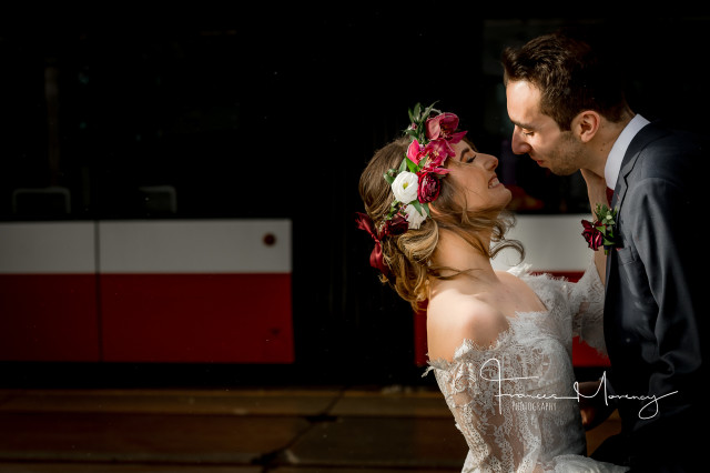 bride groom flower crown pink white wedding toronto gladstone hotel streetcar