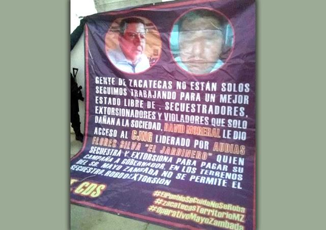 """""""El Mayo"""" Zambada señala En Narcomantas con La Operativa Zambada"""" que el hermano de Ricardo Monreal apoya al Cártel Jalisco Nueva Generación (CJNG)."""