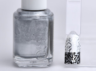 Regular nail polish stamping swatches / [essie] No Place Like Chrome, スタンピングネイル
