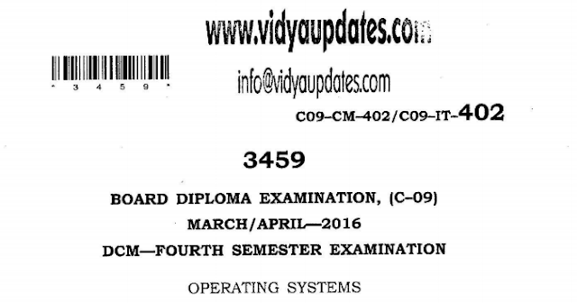 SBTET AP C-09 OPERATING SYSTEMS PREVIOUS QUESTION PAPER MARCH-APRIL 2016
