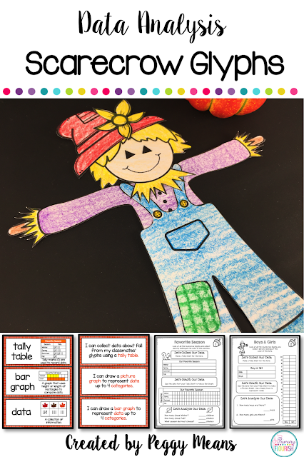 Are you looking for an engaging way to teach/review the CCSS graphing standards, this may be what you are looking for. Your students will love making their scarecrow glyphs and then collect, graph, and analyze their data.  My students love making glyphs, and because they love their little creations, they love to collect and analyze data.