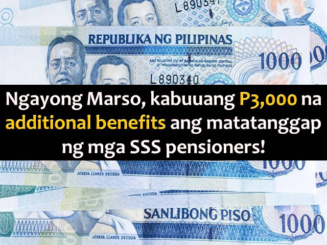 Don't you know that as a pensioner of Social Security System or SSS, you will receive a total of P3,000 in your pension this month of March?  Yes, it is. This is a retroactive payment for the month of January, February, and March.  SSS already announced that the P1,000 pension hike for the month of January is already deposited in pensioners bank account since March 3.