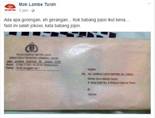 Heboh, Beredar Foto Surat Panggilan Polisi Kepada Jonru Ginting