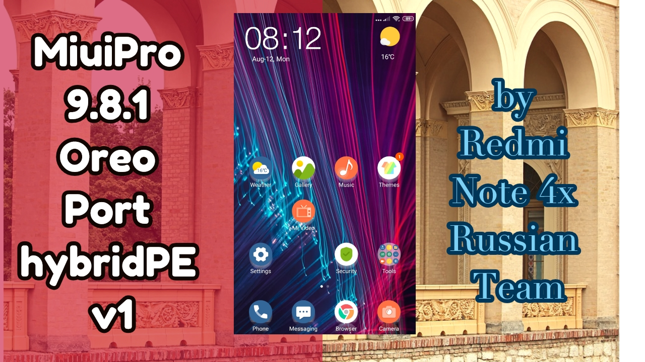 MiuiPro 9 8 1 Oreo Port hybridPE v1 by Redmi Note 4x Russian