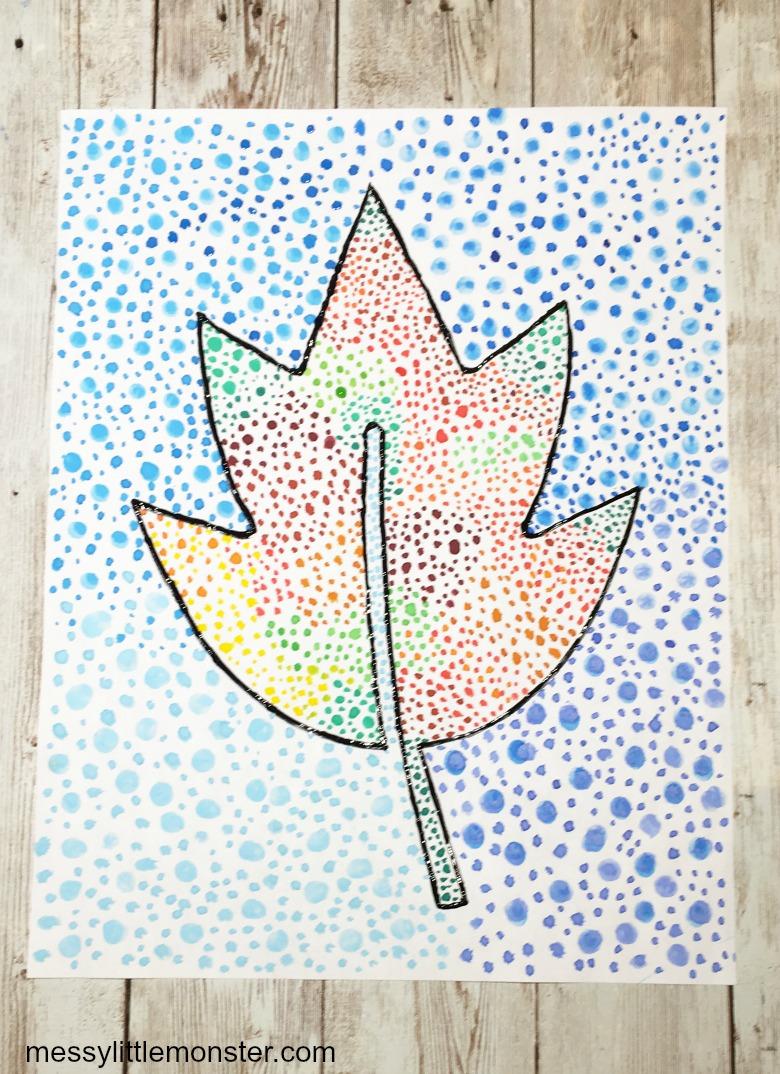 pointillism autumn leaf craft for kids
