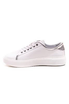 beyaz bayan deri spor ayakkabı