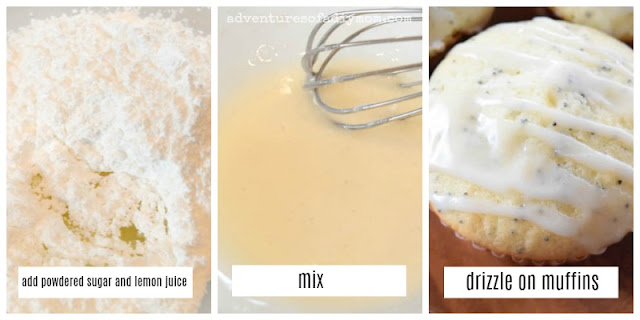 collage of pictures of steps to make lemon glaze