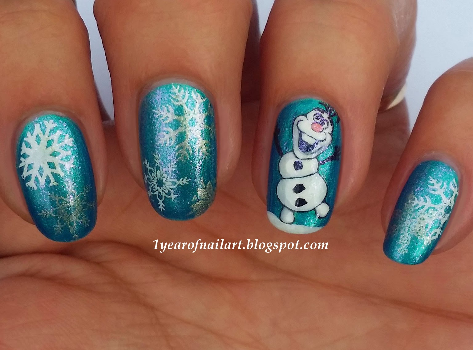 365+ days of nail art: Disney Frozen Olaf nail art