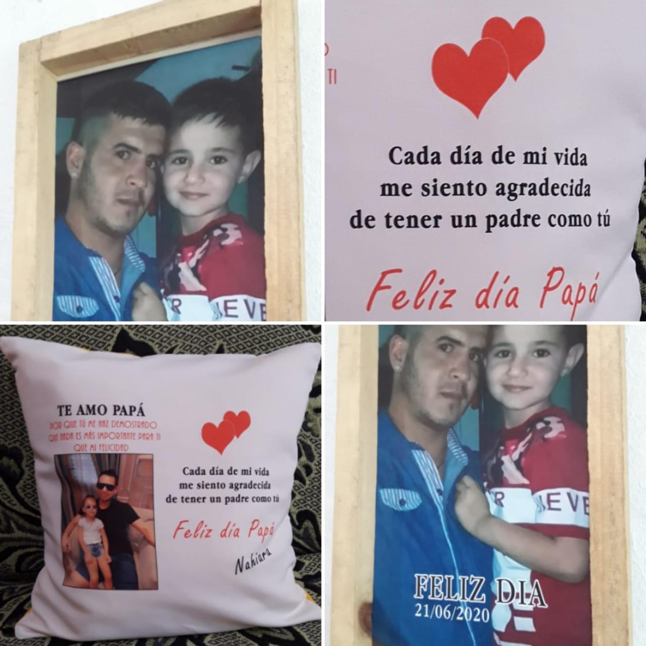 cuadros y almohadones personalizados para papá