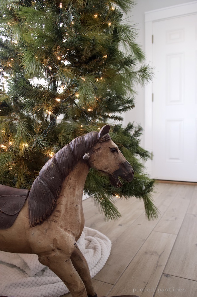 Vintage Rocking Horse by the Christmas Tree at Pieced Pastimes