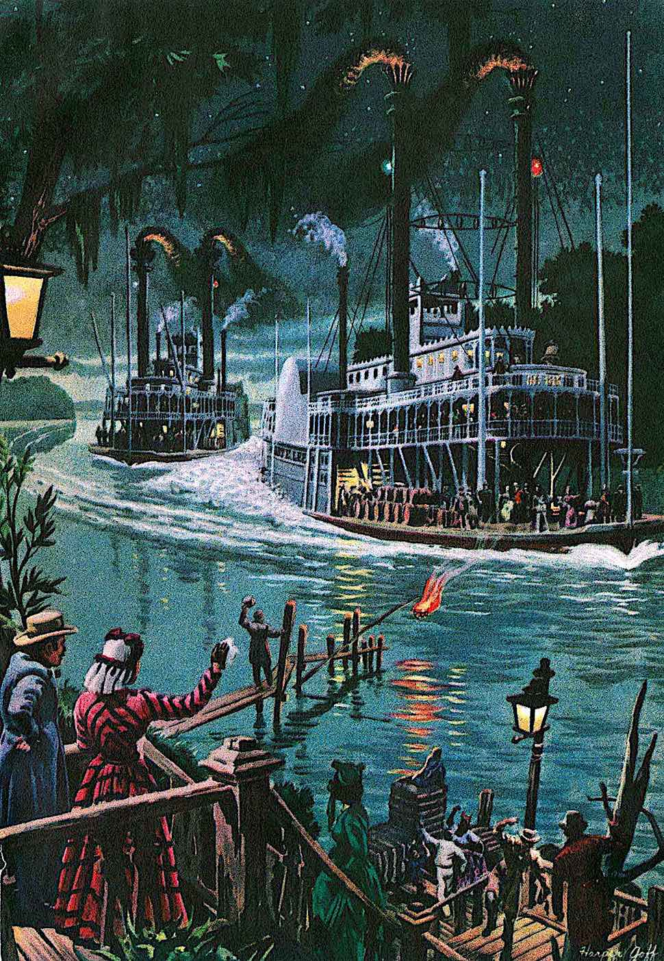 a Harper Goff illustration of a riverboat race at night