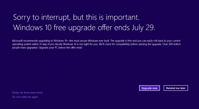 Nuovo aggiornamento per Windows 7 e 8.1 ricorda la scadenza dell'offerta gratuita per Windows 10