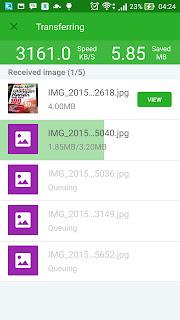 tampilan aplikasi xender saat proses pengiriman file