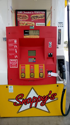 Yellow and red gas pump