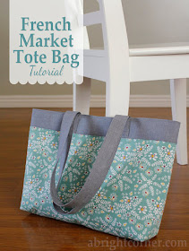 French Market Tote Bag tutorial from A Bright Corner