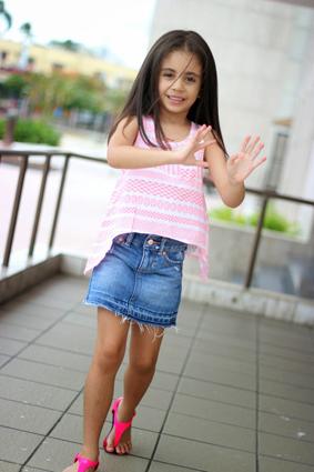 Denim Skirt and Neon Top