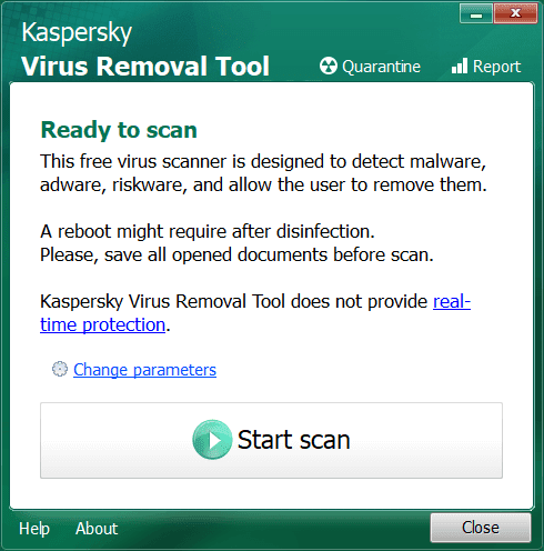 Kaspersky Virus Removal Tool Main Interface Screenshot
