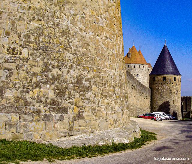 Muralha e torres da Cidade Medieval de Carcassonne, França