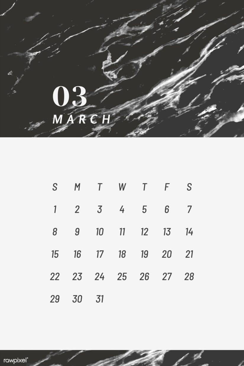 Calendario en blanco y negro marzo del 2020