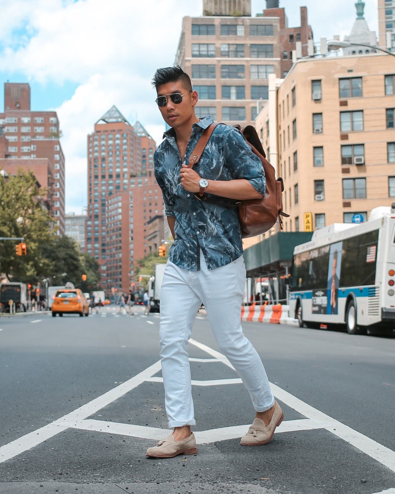 Men Summer Style, Prada Teddy Sunglasses, Suede Loafers, Coach Leather Backpack, Movado, Menswear, Levitate Style, Leo Chan