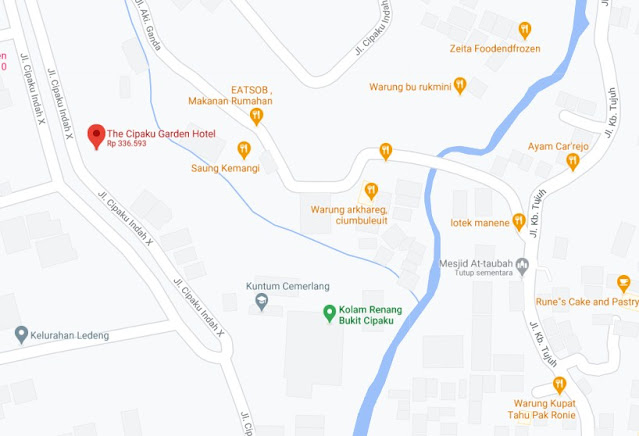 Map Letak Hotel The Cipaku Garden Bandung