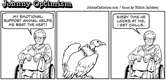 johnny optimism, medical, humor, sick, jokes, boy, wheelchair, doctors, hospital, stilton jarlsberg, wheelchair woman, vulture, support animal, chills