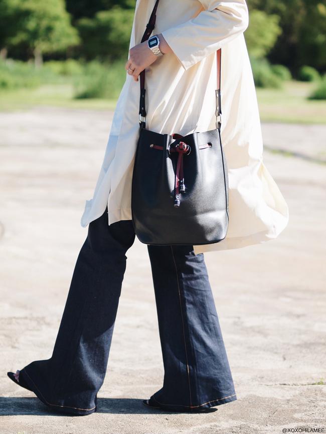日本人ファッションブロガー ミズホK,今日のコーディネート,CHOIES ロングシャツワンピース、ロングジャケット、SheIn ブラックバケツバッグ Newchic フレアジーンズ、RANDA サンダル、ゼロUV レッドミラーサングラス ずるずるコーデ
