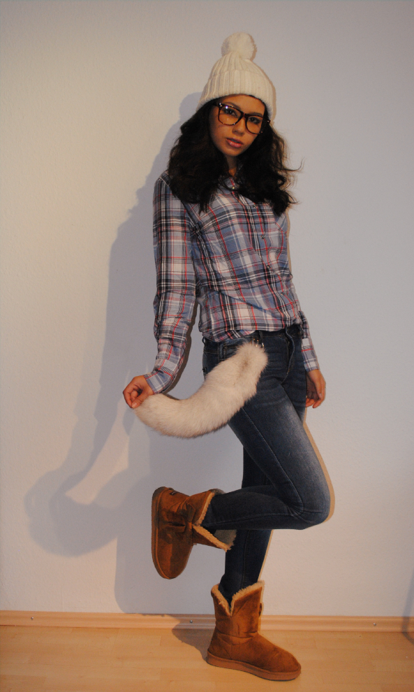 plaid shirt, fox tail