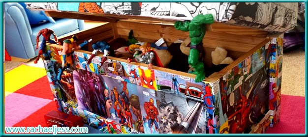 Superhero toy box covered with Marvel Comics
