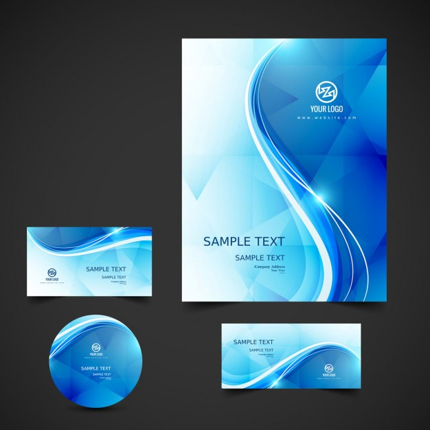 Wavy blue business stationery Free Vector