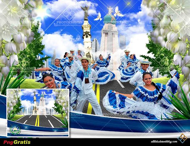 Fondo para hacer fotomontajes con fotos del desfile del 15 de septiembre