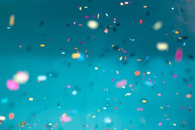 multicolored confetti at a sequel-writing party