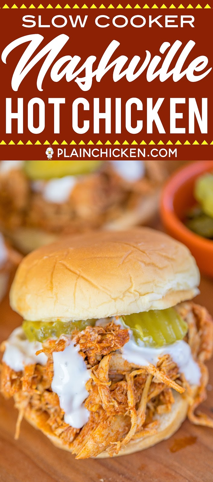 Slow Cooker Nashville Hot Chicken - adapted from the original Hattie B's Hot Chicken recipe in Nashville, TN. SO good!! Chicken, cayenne, brown sugar, garlic powder, paprika, chili powder, butter and chicken broth. Serve the chicken on slider buns with ranch and pickles. SO good! Sweet and spicy in every bite - YUM! #slowcooker #nashvillehotchicken #chickenrecipe #hotchicken
