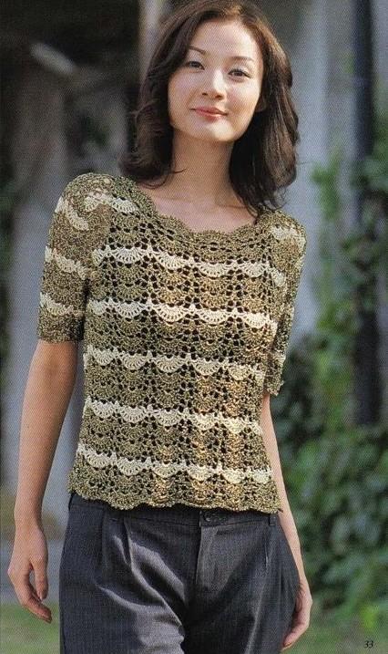 b426ecd46 TEJER GANCHILLO CROCHET  Preciosa blusa para tejer en tonos ocres ...