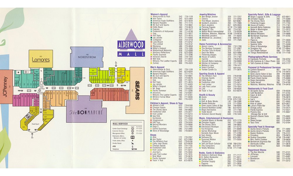 Alderwood Mall Map The Mallmanac: Extant Assets   Alderwood Mall, Lynnwood, WA