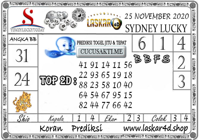 Prediksi Sydney Lucky Today LASKAR4D 25 NOVEMBER 2020