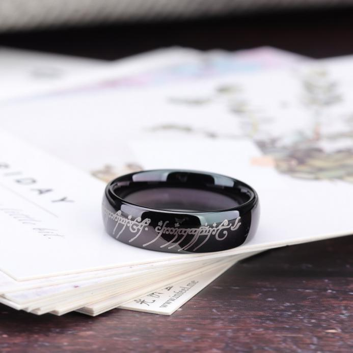 Lord of the rings black and white polished ring