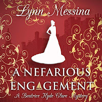 A Nefarious Engagement: A Regency Cozy audiobook cover. A white silhouette of a woman in a long gown on a wine-coloured background decorated with gold filigree swirls and the shadow of a large castle or stately home.