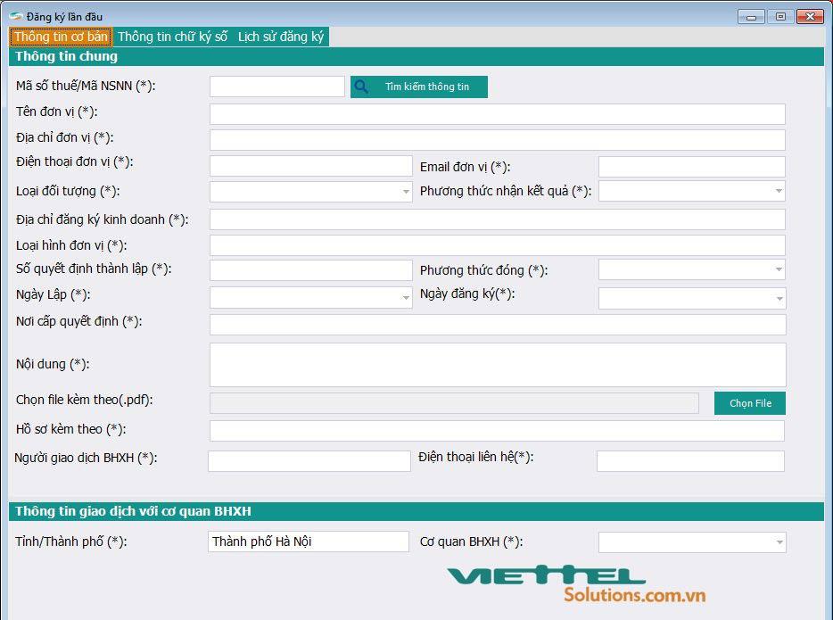 Hình 2 - Nhập thông tin đăng ký mã đơn vị BHXH trên phần mềm vBHXH của Viettel