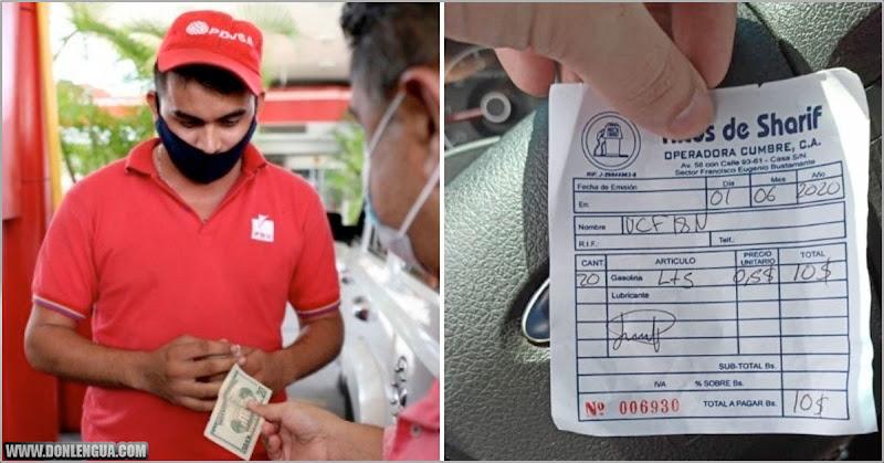 Esta es la factura en dólares que reciben los venezolanos al llenar el tanque de gasolina