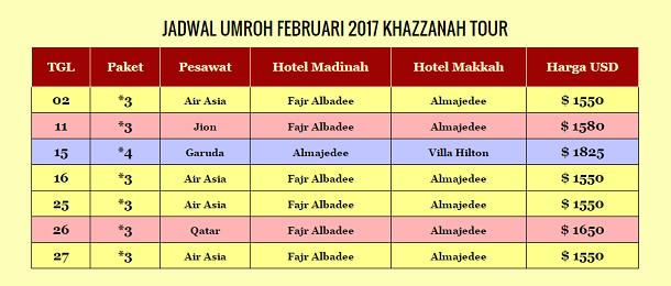 jadwal umroh februari 2017 khazzanah tour