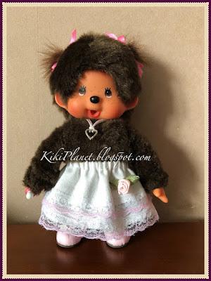 kiki monchhichi poupée doll vêtement clothes jupe volant skirt fait main couture sewing handmade