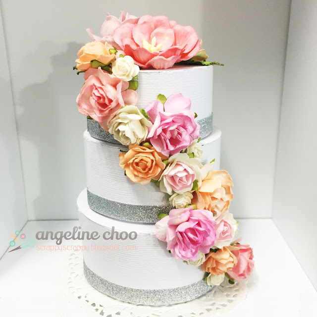 ScrappyScrappy: Paper Wedding Cake #scrappyscrappy #thecuttingcafe #svg #cutfile #diecut #wedding #weddingcake #flowers #papercraft #crafting #tiercake #paperflowers